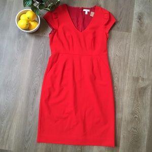 J. Crew Red Cap Sleeve Dress sz10 EUC